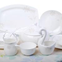 景德镇骨瓷餐具碗套装 韩式家用方形餐具碗筷套装 中式简约碗盘碟