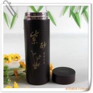 直销外不锈钢内紫砂深棕保温广告办公保健养生态水杯子 印字400ML