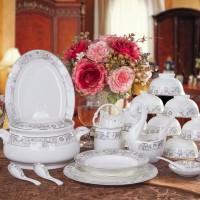 360碗套装 正宗56头高档金边骨瓷餐具 陶瓷器碗天鹅花篮包邮