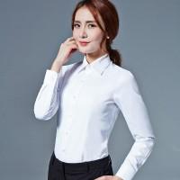 工装白衬衫女士长袖职业装V领修身型工作服正装大码衬衣ol女装