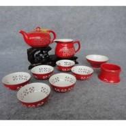 玲珑紫砂茶具10头玲珑红瓷(茶壶) 会议商务活动礼品