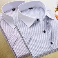 定制工作服男女士短袖衬衫条纹商务职业正装工装白衬衣大码绣LOGO
