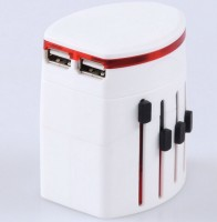 定做插座印LOGO多功能转换插头万能旅行插头转换插头双USB共1A