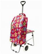 可折叠带凳伸缩拉杆购物车 可定制LOGO超大容量行李车 户外旅行车