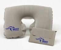 U型充气枕头旅行社订做 颈枕配植绒收纳袋套装 批发印字logo定制
