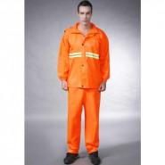厂家直销批发桔红宽夜光套服 雨衣雨披套装 500件起批 可印logo