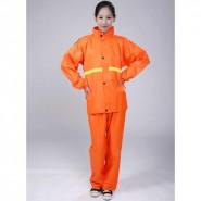厂家直销批发桔红套服 雨衣雨裤套装 500件起印 可定制广告logo