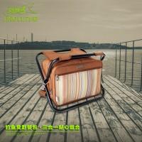 领路者钓鱼凳野餐包 户外折叠凳三合一垂钓工具包 餐具包套装