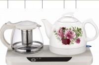 品牌牡丹青花瓷环保陶瓷电热水壶套装 1.2L 快速烧水壶 可印LOGO