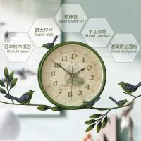 创意挂钟 欧式乡村时钟 客厅卧室大号圆形装饰钟表简约静音
