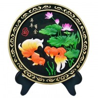 炭雕工艺品摆件年年有余婚庆礼品家居饰品竹炭包家居装饰品