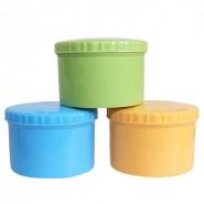 供应保鲜收纳盒 螺纹饭收纳盒 螺纹微波碗礼品三件套装保鲜收纳盒