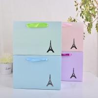 厂家直销供应 时尚纸盒礼品袋 高档白卡纯色小清新包装袋批发