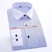 白色条纹纯棉衬衫男士长袖工装纯色衬衣订制LOGO刺绣