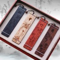 梅兰竹菊四色木质书签中国风创意定制木书签 定制商务礼品