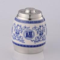 定制          纯锡陶瓷系列密封茶叶罐锡罐  鼓型五福临门(青花)