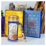 景泰蓝保温杯+景泰蓝真瓷笔套装 商务礼品 陶瓷保温杯 可印制logo