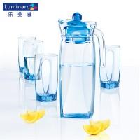 乐美雅棱镜壶水具玻璃冷水壶家用玻璃杯凉水壶扎壶水杯套装5件套