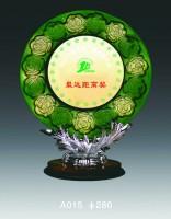 定制制作高档圆形颁奖纪念礼品 琉璃玻璃树脂奖杯奖盘 纪念品