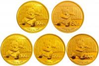 2014年熊猫金币套装 5枚装 熊猫纪念币套装熊猫金币