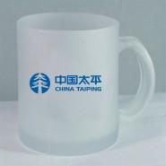 磨砂玻璃杯/广告礼品杯/促销茶杯/磨砂水杯 含单色印刷不含盖子