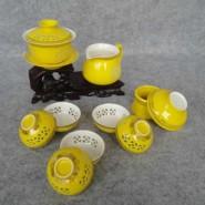 玲珑紫砂茶具10头玲珑黄瓷(盖碗) 会议商务活动礼品