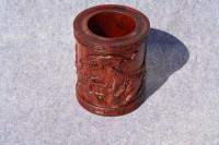 手工艺品摆件 实木雕刻红酸枝花梨木黑檀木质红木笔筒虎虎生威