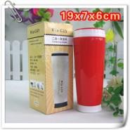 批发红色双层塑料广告保温提手过滤茶水杯子促销礼品 可印字400ML