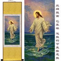 定制             耶稣归来像 基督教之品 装饰画卷轴水墨画 丝绸画 国画定制已装裱