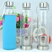 创意便携杯子带盖防漏大容量 玻璃杯透明水杯 耐高温矿泉水瓶茶杯