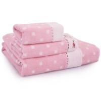 毛巾 浴巾 套装 love me熊头 纯棉三件套 1浴巾+2毛巾 可配礼盒
