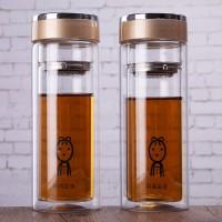 定制双层玻璃杯带盖过滤茶杯定做广告杯子可印字logo订做礼品杯子