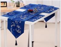 中国特色礼品云锦田园风手绣餐桌棉麻桌布盖布欧式床旗茶几桌旗