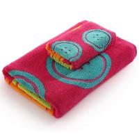 毛巾 浴巾 套装 1浴巾+1毛巾 加厚纯棉 纽扣图 回礼套巾 可配礼盒