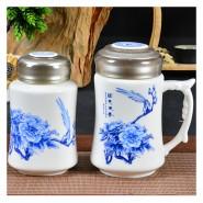 青花时尚手柄杯两件套 商务礼品 陶瓷养生保温杯 批发印制logo