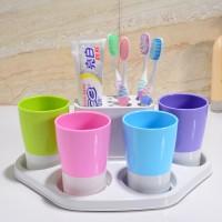 三四口之家洗漱套装 刷牙杯 卫浴用具 牙膏牙刷架收纳盒 定制logo