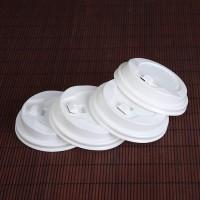 专业定做塑料防漏平盖子一次性ps奶茶咖啡杯尖翻盖杯盖