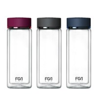富光晶瑞双层玻璃杯FB1015 水杯透明带盖 玻璃茶杯子 女士 男士杯