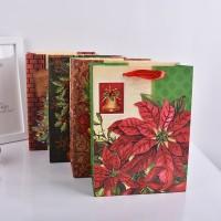 厂家直销圣诞节日包装纸袋手提袋 优质白卡纸金粉礼品袋子批发