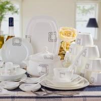 骨瓷餐具 景德镇家用方形碗盘餐具 56头简约风格陶瓷餐具套装礼品