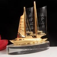 定制水晶船合金船一帆风顺合金工艺品公司会议摆件馈赠商务礼品