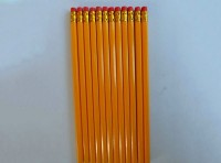 供应7寸原木色HB铅笔 木质铅笔 酒店广告铅笔 定制热转印套膜铅笔