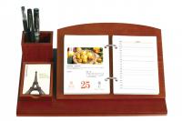 2021年豪华周历商务摆件日历本创意木质带笔筒座台历礼品定制LOGO