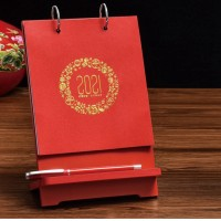 台历2021年牛年木质手机架台历 竹制红木台历印刷定制广告logo