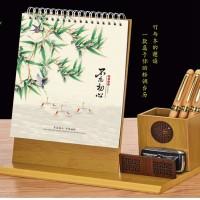 台历2021年牛年创意摆件镂空笔筒台历 钟表红木台历印刷广告logo