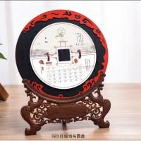 台历2021年牛年青花圆盘摆件台历中国红木质红木台历印刷广告logo